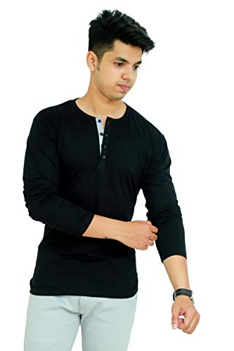 Faricon Men's Cotton Full Sleeves Henly Casual T-Shirt (Black)