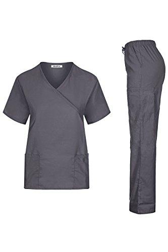 MedPro Damenoberteil in Wickeloptik mit Cargo Pants für medizinische Berufe, grau