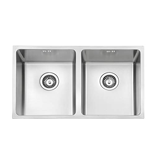 Jass Ferry Premium lavello da cucina acciaio INOX lavello quadrato 2.0ciotola doppia opaco senza foro rubinetto 750x 440 10anni di