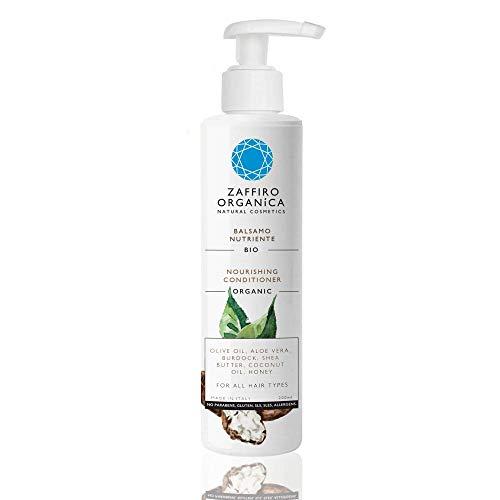Zaffiro Organica Naturkosmetik - Bio Repair Haarspülung mit Sheabutter, Kokosöl, Aloe Vera - Volumen und Glanz - ohne Silikone und Sulfate für Männer & Frauen - Made in Italy - (1x200 ml)