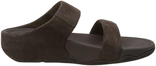 FitFlop Damen Lulu Slide Sandals-Shimmer-Check Peeptoe Braun (Schokolade)