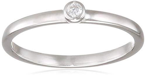 s.Oliver Damen-Ring So Pure 3 mm schmal schlicht 925 Sterling Silber rhodiniert Zirkonia weiß