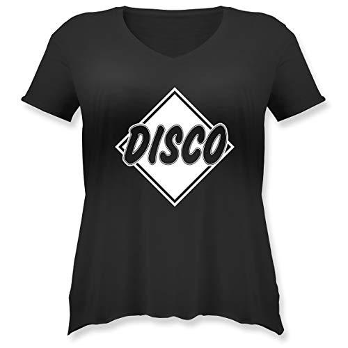 Festival - Disco - XL (50/52) - Schwarz - JHK603 - Weit geschnittenes Damen Shirt in großen Größen mit V-Ausschnitt