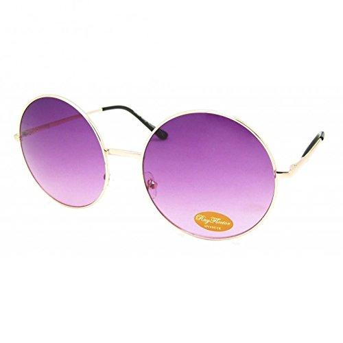 Chic-Net Sonnenbrille rund Glamour golden XL Oversize John Lennon getönt 400UV Vintage pink