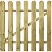 Portillon clôture droite, pin rabote et traite autoclave 1,6x7cm 100x80cm
