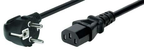TPFNet Premium Netzkabel Schukostecker - Netzanschlusskabel Schukostecker abgewinkelt an Kaltgerätebuchse - Kabel Kaltgeräte - Kaltgerätekabel - Stromkabel für z.B. Monitor, Drucker, Computer - 5m, schwarz