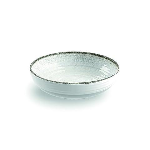 Blanc naturel Pierre Couleur faible Bol–Mélamine Artisan–Pique-nique/barbecue/buffet extérieur salle à manger Salade de fruits/céréales/soupe/bol à pâtes–Lot de 4–20cm
