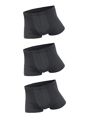 Herren 3 Stücke Low Rise Ice Silk Retroshorts Unterwäsche Super Dünn Atmungsaktiv - Einfarbig Schwarz Größe L (Atmungsaktive Unterwäsche)