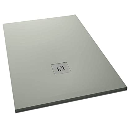 "Plato ducha resina textura pizarra ""Slate"". 80x180cm. Gris claro Ral. 7035"