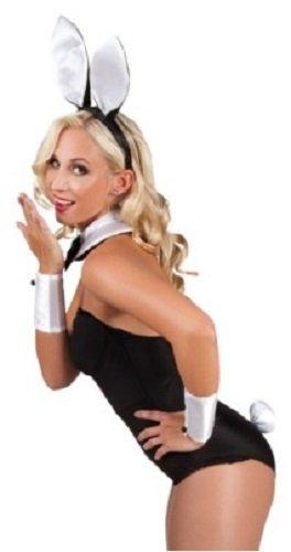 Damen Sexy Bunny Girl Kellnerin Tier Kostüm Kleid Outfit Zubehör Set - Schwarz/weiß, One size (Weiß Bunny Girl Kostüm)
