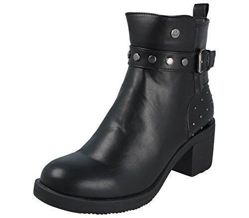 Yinka Shoes Ladies Faux Leather Buckle Stud Mid Block High Heel Chelsea Ankle Boots Size 3-8