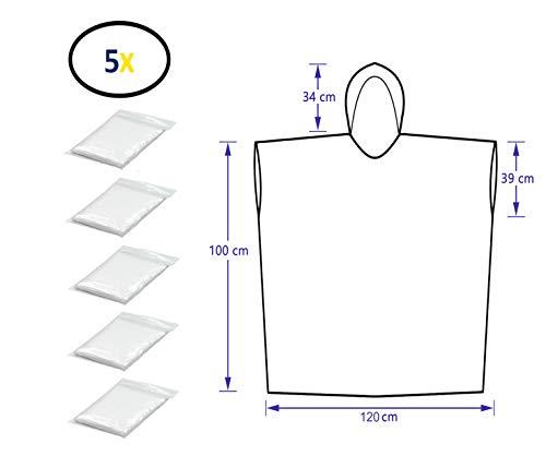 Thorani Regenponcho für Damen, Herren & Kinder 140-190 cm - kompakt und leicht - 5er Pack - Kinder-notfall-poncho