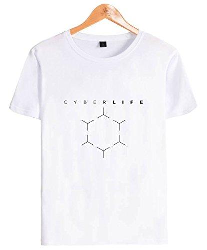 SIMYJOY Unisex Detroit Become Human T-Shirt Spiel für die Playstation 4 Tops Cool Game T-Shirt Kara & Markus Tops Tshirt Für Männer Frauen Teen weißes S