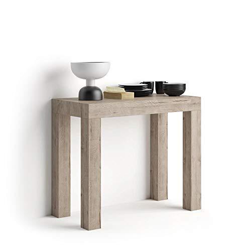 Mobili fiver, tavolo consolle allungabile first, quercia, 90 x 45 x 75 cm, nobilitato/alluminio, made in italy, disponibile in vari colori