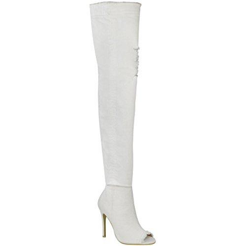 Damen Overknee-Stiefel - Stiletto-Absatz - High Heels aus Jeans-Stretchmaterial - Weiß Denim - EUR 41 (Plateau Weiße Stiefel Overknee)