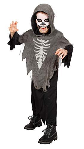 Karneval-Klamotten Horror Kostüm Kinder Geist Skelett Kinder-Kostüm Halloween-Kostüm Größe 116-128