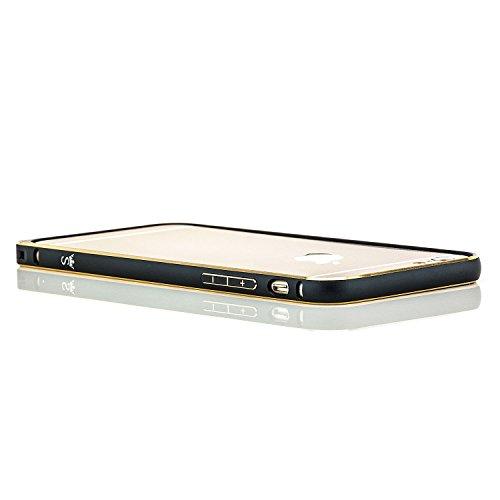 Coque aluminium + 2x Verre Trempé Apple iPhone 7 [Saxonia] Métal Housse Bumper rigide Ultra-mince (Jack) Noir (Jet Black) Bordure dorée Noir