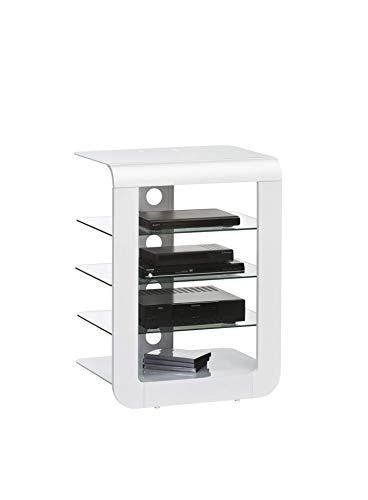 MAJA Möbel TV- und HiFi-Rack Glas Weiß (Licht-holz-tv-ständer)