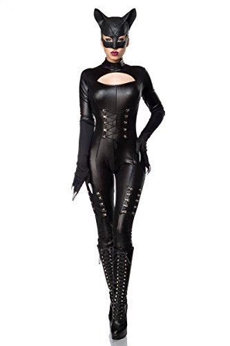 Superheld Kostüm Catwoman (Sexy Catwoman Kostüm Cat Woman Superheld Held Heldin Schwarz Set Karneval S-3XL,)