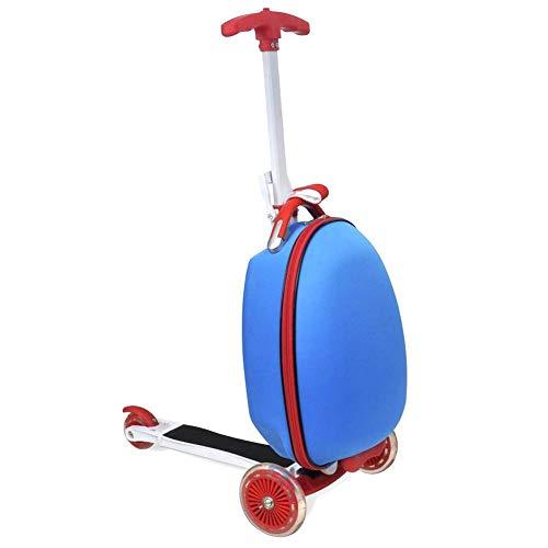 SOULONG Monopattino con Zaino, Monopattino 3 Ruote Scooter Pieghevole per Bambini, Monopattino Scooter con Borsa per Bambini, Altezza Regolabile 54-81cm, Fino a 50 kg