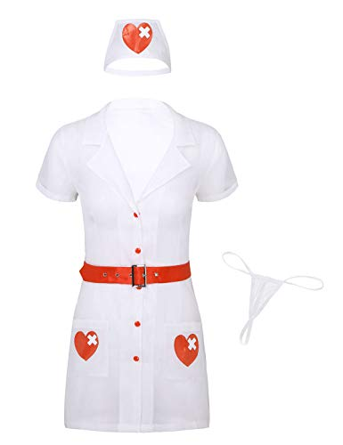 Alvivi 4Pcs Damen Ärztin Krankenschwester Kostüm Babydolls Nachtkleid Cosplay Doktor Arzt Kostüm Dessous Set Weiß - Freche Paare Kostüm