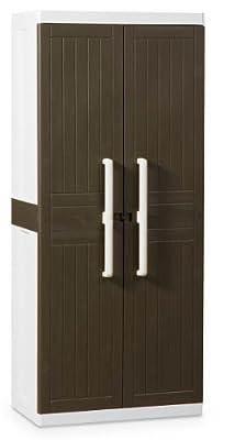 TOOMAX Z246R026 Kunststoffschrank Wood Line L, Besenschrank - Art 246, braun von Plastmeccanica Spa