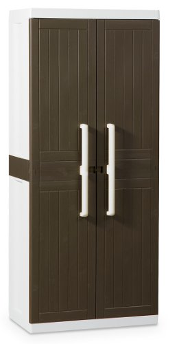 TOOMAX Z246R026 Kunststoffschrank Wood Line L, Besenschrank - Art 246, braun