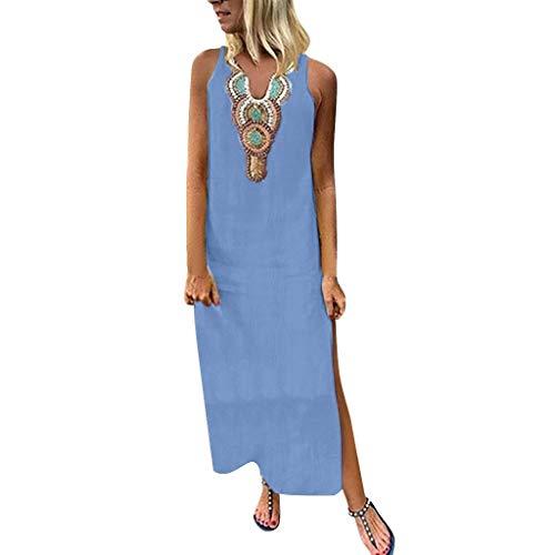 Damen Böhmischen Gedruckten Sommerkleid ärmellose V-Ausschnitt Leinen Maxi-Kleid Freizeitkleider Split Hem Baggy Kaftan Lässig Tunika Leinenkleid Tuchkleid Blusenkleid X-Blau L Jersey-print-bikini-top