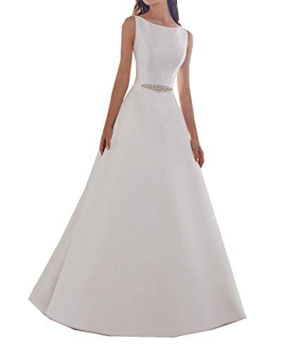 Frauen Satin A-Linie Sicke Brautkleider Backless Sweep Einfache 2018 Brautkleider (Kleider Homecoming Satin)
