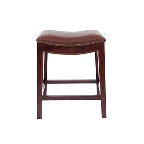 YYSyys Barhocker, Pu-Sitz Retro Elegante Hohe Hocker Hause Massivholz Frühstück Stuhl Stabile Freizeit Counter Hocker 2 Farbe (Color : Brown, Size : 52 * 36 * 63cm) -
