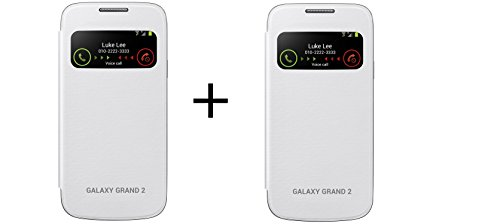 KoldFire Combo of 2 Samsung Galaxy Grand 2 S View Caller Id Compatible Premium Quality Flip cover (White and White)  available at amazon for Rs.199