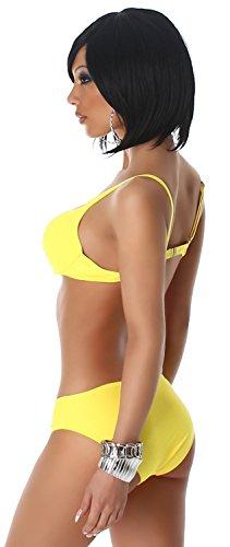 P.F. Damen Träger-Bikini einfarbig im eleganten Design Gelb