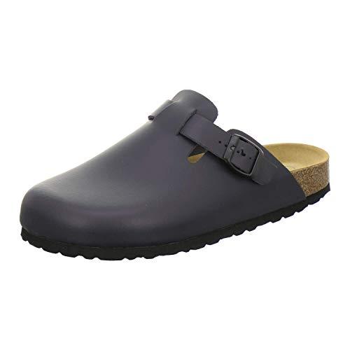 AFS-Schuhe 3900 Hausschuhe Herren aus Leder I Clogs Pantoffeln mit Fußbett I Made in Germany (41 EU, Navy)