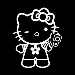 (SUPERSTICKI® Hello Kitty Holding Gun Funny JDM Aufkleber Decal Hintergrund/Maße in inch Vinyl Sticker|Cars Trucks Vans Walls Laptop| White |5.5 x 4.5 in|CCI1030)