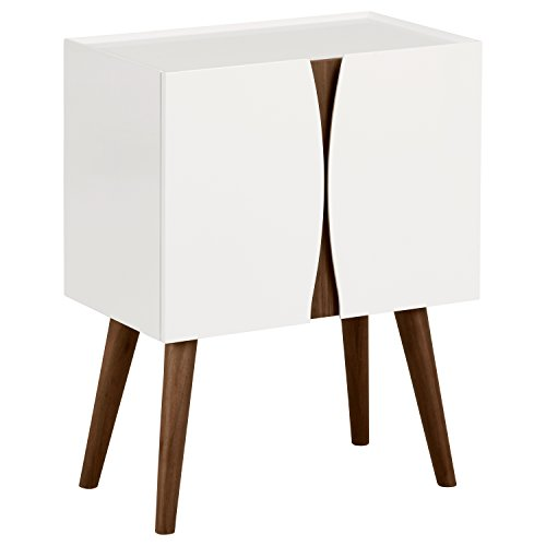 Rivet - Cómoda lacada con acabados en madera, 60 cm de largo (blanco brillante y madera)