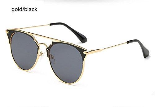 Aprigy Spiegel Rose Gold Katzenaugen-Sonnenbrille Frauen-Runde Luxuxmarken Weibliche Sonnenbrillen Frauen [Gold Schwarz]
