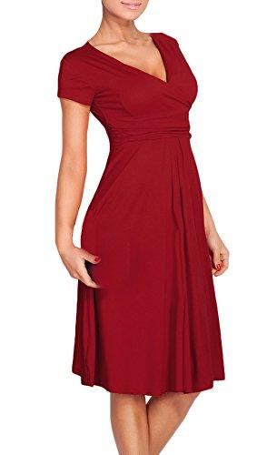 Abendkleider Damen Kurz Mit Ärmeln Elegant Cocktailkleid Vintage V Ausschnitt Unique Figurbetont Falten Kleider Ballkleid Wein rot