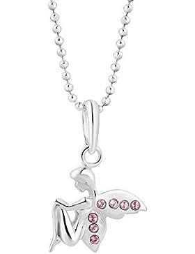 fish Mädchen Halskette Silber original Swarovski Elements Schutz-Engel-Anhänger rosa längen-verstellbar Schmucketui...