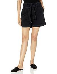 The Drop, Brett, Pantaloncini di Jeans a Vita Alta, Stile Paperbag, con Abbottonatura Frontale; Interno Gamba 10 cm