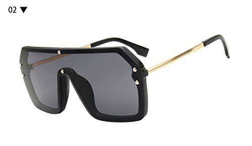 HUOYAN Rot Schwarz Übergroße Quadratische Sonnenbrille Männer Objektiv Großen Rahmen Sonnenbrille for Frauen UV400 Silber Spiegel (Lenses Color : 02 Black)