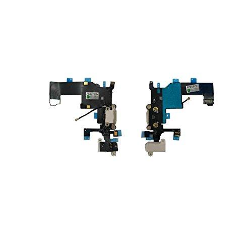 FONFON Dock Connector USB Charger Buchse Charging Ladebuchse Audio Flex Antenne Mikrofon für Apple iPhone 5S Weiß