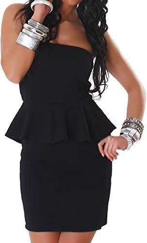 Jela London Damen Peplum Schößchen Bandeau Mini-Kleid Stretch Schulterfrei Musterung Party Cocktail Trägerlos, Schwarz ML 34 36 (Rotes Kleid Gala)