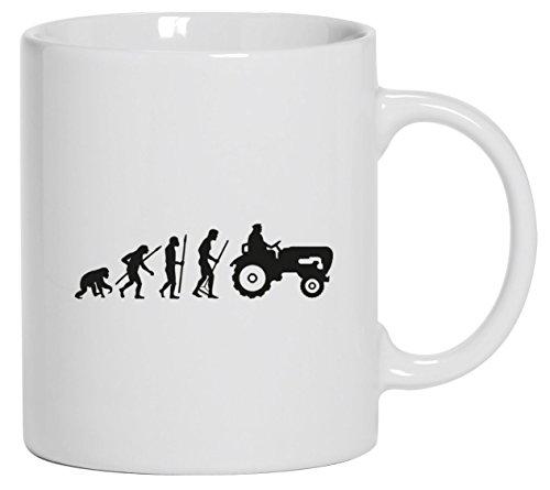 Lustige Kaffeetasse Kaffeebecher Evolution Traktor, Größe: onesize,Weiß