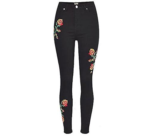 Femmes Jeans Disco Haute Taille Denim Rose Broderie Loose Straight Trouser Zipper Pocket Pants , Black , 42