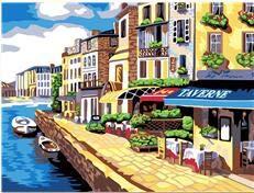 ZYCD Unterstützung Benutzerdefinierte Küstenstadt Acryl Paint by Number Kit handgemalte Gemälde von Zahlen 40cmx50cm Rahmenlos (Acryl Paint Kit)