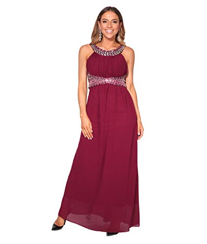 KRISP Langes Ballkleid mit Diamanten (Weinrot, Gr.38) (2864-WIN-10)