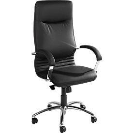 Chefsessel Nova in Echtleder mit Armlehnen Bürostuhl Bürosessel Schwarz