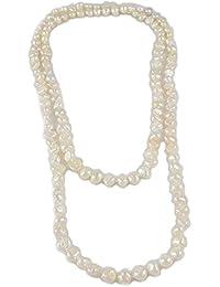 e93982dc8f68 AKIEE Collar de Mujer de Perlas Cultivadas de Agua Dulce Elastica De  Colores Blancas De 8