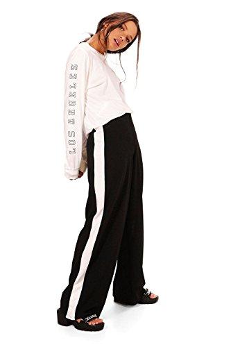Damen Schwarz Leona Lässige Hose Mit Weitem Bein Und Kontrasteinsätzen Schwarz