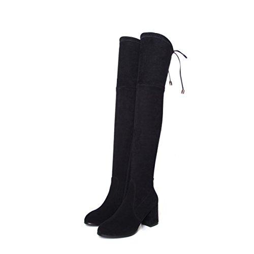 Stivali alti stivali Stivali al ginocchio femminile Stivali con spessore gamba Stretch gray
